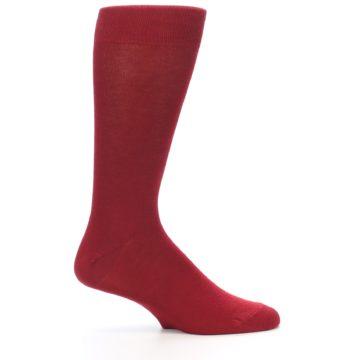 Image of Apple Red Solid Color Men's Dress Socks (side-1-24)