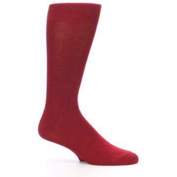 Image of Apple Red Solid Color Men's Dress Socks (side-1-25)