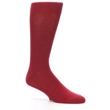 Image of Apple Red Solid Color Men's Dress Socks (side-1-26)