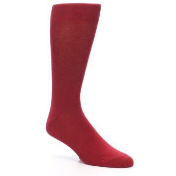 Image of Apple Red Solid Color Men's Dress Socks (side-1-27)