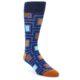 Image of Blue Navy Maze Men's Dress Socks (side-1-front-01)