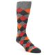 Image of Grey Red Orange Diamond Men's Dress Socks (side-1-front-01)