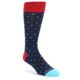 Image of Navy Multi-Color Polka Dot Men's Dress Socks (side-1-front-01)