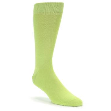 Image of Lime Green Solid Color Men's Dress Socks (side-1-front-01)
