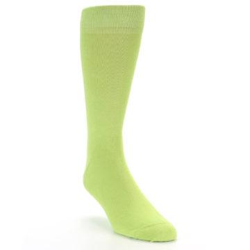 Image of Lime Green Solid Color Men's Dress Socks (side-1-front-02)