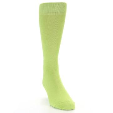 Image of Lime Green Solid Color Men's Dress Socks (side-1-front-03)