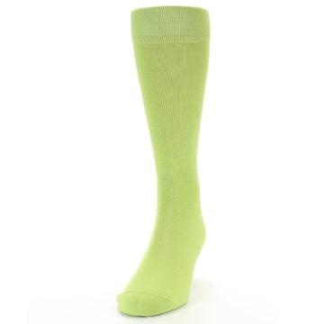 Image of Lime Green Solid Color Men's Dress Socks (side-2-front-06)