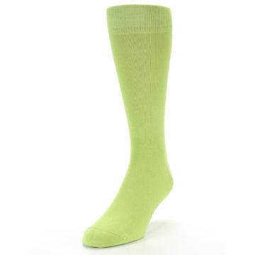 Image of Lime Green Solid Color Men's Dress Socks (side-2-front-07)
