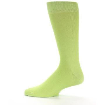 Image of Lime Green Solid Color Men's Dress Socks (side-2-12)