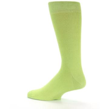 Image of Lime Green Solid Color Men's Dress Socks (side-2-13)