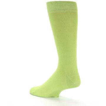 Image of Lime Green Solid Color Men's Dress Socks (side-2-back-14)