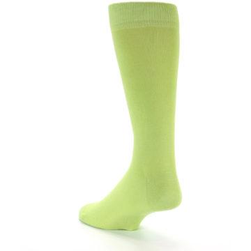 Image of Lime Green Solid Color Men's Dress Socks (side-2-back-15)