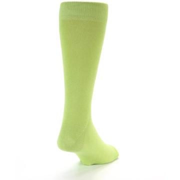Image of Lime Green Solid Color Men's Dress Socks (side-1-back-20)