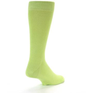 Image of Lime Green Solid Color Men's Dress Socks (side-1-back-21)