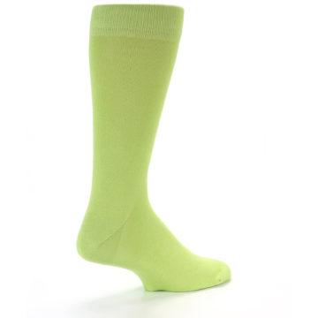 Image of Lime Green Solid Color Men's Dress Socks (side-1-back-22)