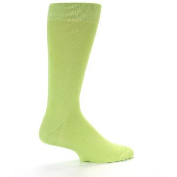 Image of Lime Green Solid Color Men's Dress Socks (side-1-23)