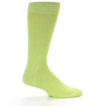 Image of Lime Green Solid Color Men's Dress Socks (side-1-24)