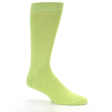 Image of Lime Green Solid Color Men's Dress Socks (side-1-26)