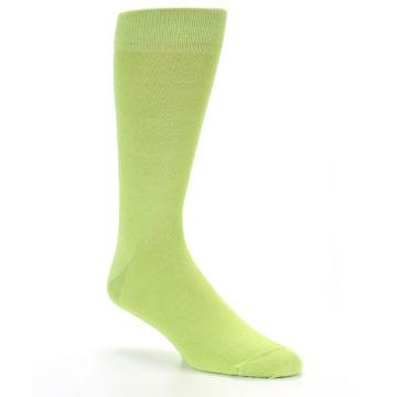 Image of Lime Green Solid Color Men's Dress Socks (side-1-27)
