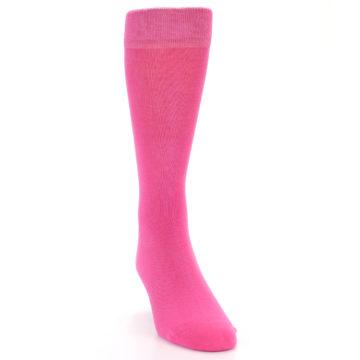 Image of Hot Pink Solid Color Men's Dress Socks (side-1-front-03)