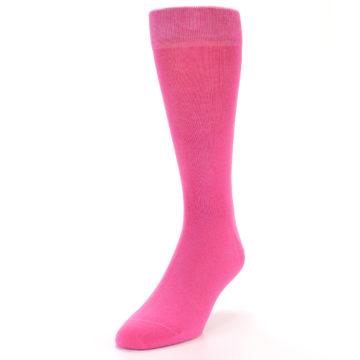 Image of Hot Pink Solid Color Men's Dress Socks (side-2-front-07)
