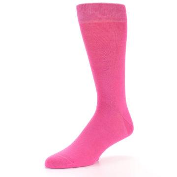 Image of Hot Pink Solid Color Men's Dress Socks (side-2-09)