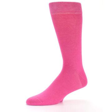 Image of Hot Pink Solid Color Men's Dress Socks (side-2-10)