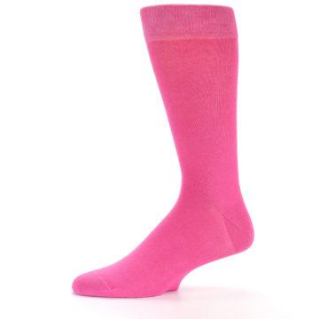 Image of Hot Pink Solid Color Men's Dress Socks (side-2-11)