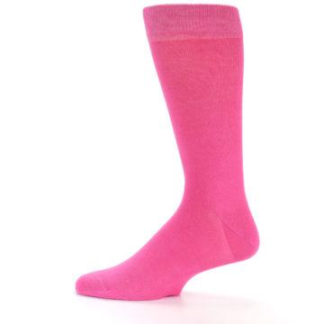 Image of Hot Pink Solid Color Men's Dress Socks (side-2-12)