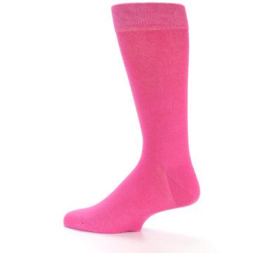 Image of Hot Pink Solid Color Men's Dress Socks (side-2-13)