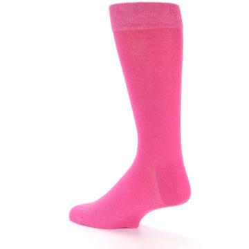 Image of Hot Pink Solid Color Men's Dress Socks (side-2-back-14)
