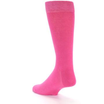 Image of Hot Pink Solid Color Men's Dress Socks (side-2-back-15)