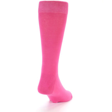 Image of Hot Pink Solid Color Men's Dress Socks (side-1-back-20)