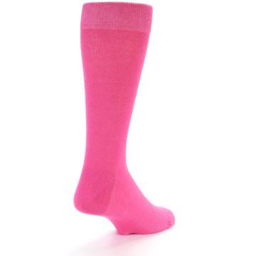 Image of Hot Pink Solid Color Men's Dress Socks (side-1-back-21)