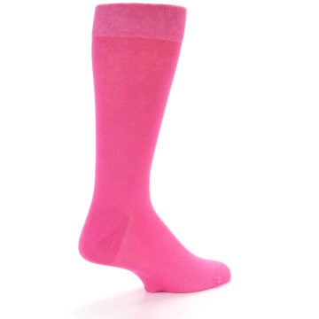 Image of Hot Pink Solid Color Men's Dress Socks (side-1-back-22)