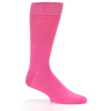 Image of Hot Pink Solid Color Men's Dress Socks (side-1-26)