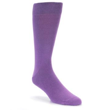 Image of Wisteria Purple Solid Color Men's Dress Socks (side-1-front-01)