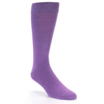Image of Wisteria Purple Solid Color Men's Dress Socks (side-1-front-02)