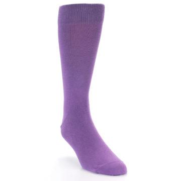 Image of Wisteria Purple Solid Color Men's Dress Socks (side-1-front-03)
