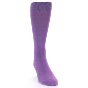 Image of Wisteria Purple Solid Color Men's Dress Socks (front-04)