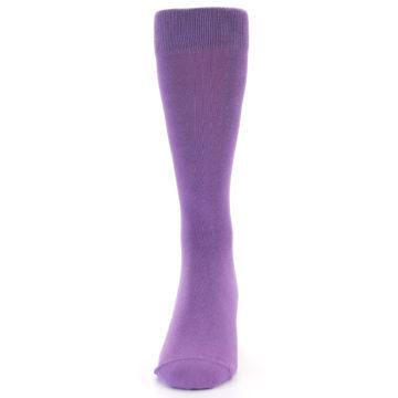 Image of Wisteria Purple Solid Color Men's Dress Socks (side-2-front-06)