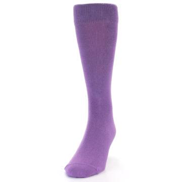 Image of Wisteria Purple Solid Color Men's Dress Socks (side-2-front-07)