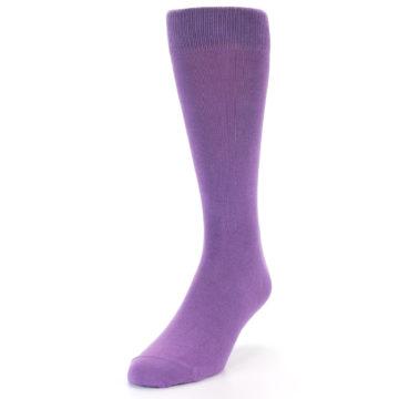 Image of Wisteria Purple Solid Color Men's Dress Socks (side-2-front-08)