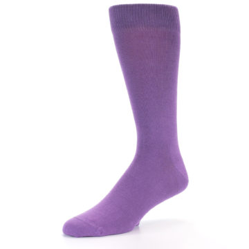 Image of Wisteria Purple Solid Color Men's Dress Socks (side-2-10)