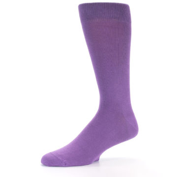 Image of Wisteria Purple Solid Color Men's Dress Socks (side-2-11)