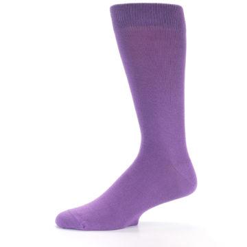 Image of Wisteria Purple Solid Color Men's Dress Socks (side-2-12)