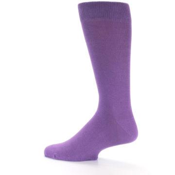 Image of Wisteria Purple Solid Color Men's Dress Socks (side-2-back-14)