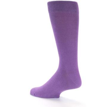 Image of Wisteria Purple Solid Color Men's Dress Socks (side-2-back-15)
