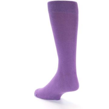 Image of Wisteria Purple Solid Color Men's Dress Socks (side-2-back-16)
