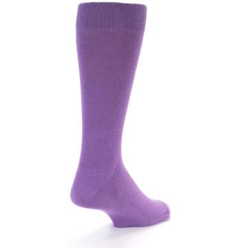 Image of Wisteria Purple Solid Color Men's Dress Socks (side-1-back-22)